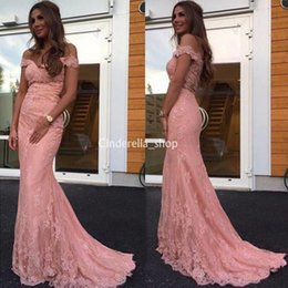 $enCountryForm.capitalKeyWord Australia - Modest Pink Full Lace Prom Dresses 2019 Off Shoulder Beads Sweep Train Arabic Evening Party Special Occasion Gowns Cheap Customized