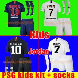 PSG soccer jersey kids kit 2019 Paris away third MBAPPE CAVANI DI MARIA  VERRATTI saint germain jerseys 18 19 football shirt uniforms maillot 484e22d73