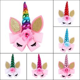 $enCountryForm.capitalKeyWord Australia - New Assorted colors Unicorn Baby Headbands Jojo Bows Barrettes Headband with Bows Baby Girl Party Hair Clips Accessories