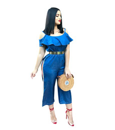 fb28f6ce62c 2019 Hot Blue Denim Ruffles Women Jeans Jumpsuits Spaghetti v Neck Short  Sleeves Elastic Waist Wide Leg Pants Suits Casual Jumpsuits
