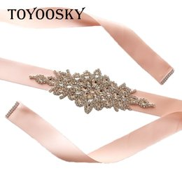 $enCountryForm.capitalKeyWord Australia - New Arrival Rhinestone Wedding Belt Rhinestone Pearl Wedding Dress Crystal Pearls Bridal Belt Bridal Sash White Ribbon for Bride