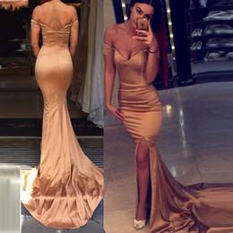 $enCountryForm.capitalKeyWord Canada - 2018 Satin Evening Dresses Mermaid V-Neck Off the Shoulder Short Sleeve Floor-Length Split Side With Train Sexy Prom Dresses