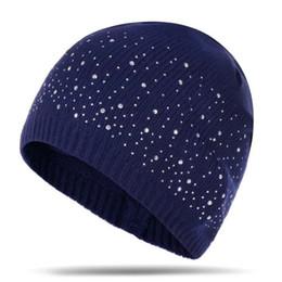72580636a92 winter warm beanie hats women soft knitting skullies beanies hat female  fashion rhinestone cotton hat caps 10pcs lot