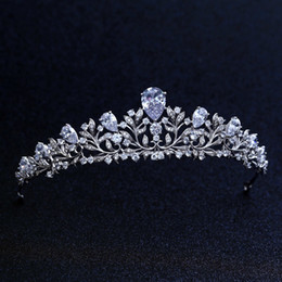 Wholesale Top Quality Wedding Bridal Bridesmaid Flower Cubic Zirconia Girls white plated zircon tiara crown headband For Prom S918