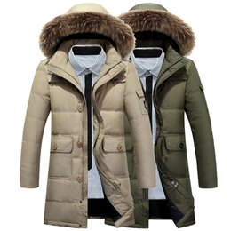 Wholesale New Long Winter Down Jacket With Fur Hood Men s Clothing Fashion Jackets Thickening Parka Male Big Coat XL