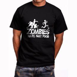 New Zombies Hate Fast Food T-shirt nera da uomo manica corta taglia S a 5XL 2018 T shirt da uomo di alta qualità casual manica corta in Offerta