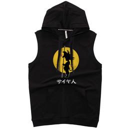 $enCountryForm.capitalKeyWord UK - Mens summer sleeveless Goku Hoodies fitness fashion Casual jacket Hooded Sweatshirt Bodybuilding sportswear clothing