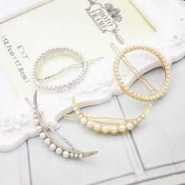 China shipping hair online shopping - Imitation Pearl Moon Hairpins Geometric Hollow Circle Side Clip Women Gold Plated Hair Barrettes New Fashion Jewelry
