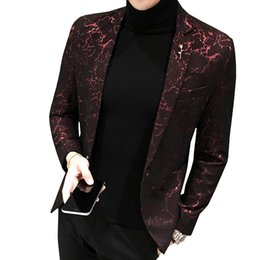 wedding casual blazers for men 2019 - Mens Printed Business Casual Blazer Slim New Wind Red Blue Black 5XL Elegant Wedding Party Stylish Blazers For Men Suit