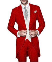 Chinese  The latest classic design long tail tuxedo red Slim men's suit wedding groom dress ball best man jacket vest pants 3 piece set manufacturers