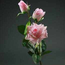 Plum flower decoration online shopping - 3 Heads Artificial Real Touch Rose Flowers Decoration Fresh Rose Artificial Flowers Latex Roses For Wedding Bouquet Decoration