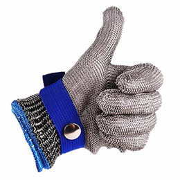Опт Безопасная защита от порезов Ударопрочная нержавеющая сталь Металлическая сетка Мясная перчатка Размер M Высокая производительность Уровень 5 Защита Q190601