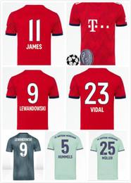 2018 2019 Bundesliga Soccer Bayern Munich Jersey Men 9 LEWANDOWSKI 10  ROBBEN 11 JAMES 25 MULLER 5 HUMMELS Football Shirt Kits Red Green 559c9b83a