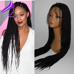 heat resistant wig black blonde Australia - Fashion african american black brown blonde box braids wig heat resistant synthetic lace front wig micro braided wigs for black women