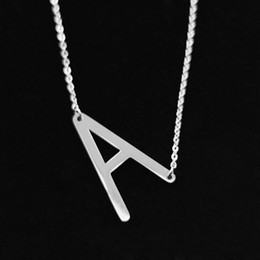 Gold choker initial online shopping - Letter A Pendant Necklaces Stainless Steel Alphabet Capital Intitial Rose Gold Choker Character Necklace Women Fashion Jewelry