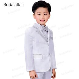 a65c741820bb Wonderful Fashion Kids Suits Flower Boys Party Tuxedo Costume Suits Children  Shiny White-silver Wedding Suit (Jacket+Pants+Vest)