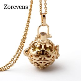 $enCountryForm.capitalKeyWord Australia - ZORCVENS Gold Color Cage Angel Ball Necklace 6 Colors Ball Metal Pregnancy in Pendants Baby Chime Necklace