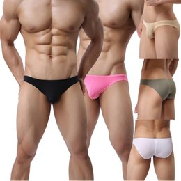 ed4dbf782c55 Men's Mini Bulge Pouch Briefs Sexy Underwear Ultra Thin Bikini Panties Soft  Low-rise Underpants 5 Colors