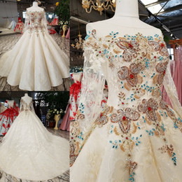 $enCountryForm.capitalKeyWord NZ - Artistic Ivory Lace Sleeves Applique Hand-Made Beads Ball Gown Wedding Dresses Bridal Dresses Events Dresses Custom Size 6 8 10 12 W307088