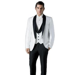 best suits Canada - Custom Made White Groom Tuxedos Black Shawl Lapel Men Suits for Wedding Slim Fit Groomsmen Best Man Blazers 3 Pieces Jacket Pants Vest