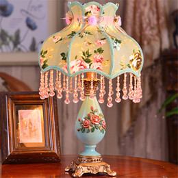 Discount roses table lamp - Luxury European Table Lamp for Living Room Study Room Decoration Lighting with Chinese Rose Picture