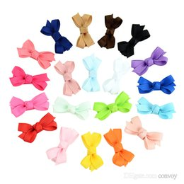 BaBy hair safety online shopping - Baby Infant Bow Hairpins Small Grosgrain Ribbon Bows Hairgrips Girls Solid Whole Wrapped Safety Hair Clips Kids Hair Accessories KFJ27