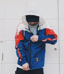 Full Zip Jacket Polyester Australia - Color Block Patchwork Windbreaker Hooded Jackets Men Hip Hop Full Zip Up Pullover Tracksuit Jacket Fashion Streetwear