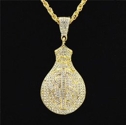 $enCountryForm.capitalKeyWord Australia - Uodesign HIP Hop Gold Color Iced Out Bling US Dollars Purse Pendants Necklaces for Men Jewelry