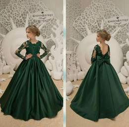 7b181ea4351c9 Emerald Green Lace Floor Length Long Sleeves Applique New Little Girl  Pageant Dresses Hunter Green Lovely Flower Girl Dresses