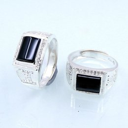 men foot ring NZ - 990 Pure Silver Ring Foot Silver Man Ring Black Agate Crystal Diamond Ring Korean Edition Fashion Pure Silver A911
