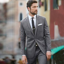 men wedding suit grey Australia - Custom Made Grey Wedding Suits Best Man Blazers 2 Peice Jacket Pants Formal Groom Tuxedos Slim Fit Terno Masculino Groomsmen Suits Prom Wear
