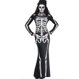 Sexy Skeleton Dress NZ - Womens Sexy O-Neck Print Full-Sleeve Scary Halloween Skeleton Maxi Dress Cosplay Costume Dresses