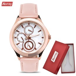 $enCountryForm.capitalKeyWord Canada - Abrray Chronograph Woman Watches Casual Rose Gold Ladies Quartz Watch Mother OF Pearl Dial Wristwatch Case PU Leather ClockY1883102