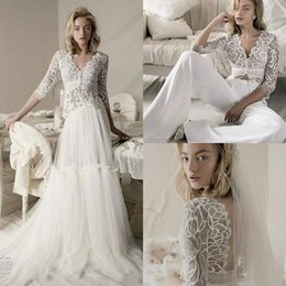 $enCountryForm.capitalKeyWord NZ - Three Pieces Pants suit Wedding Dresses With Detachable Overskirts Lace Applique 3 4 Long Sleeve lihi hod V Neck Illusion Bridal Gown