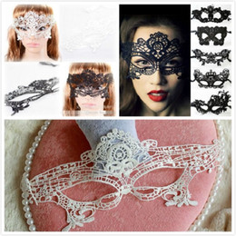 half face ball Australia - Halloween Sexy Masquerade Masks Black White Lace Masks Venetian Half Face Mask for Christmas Cosplay Party Night Club Ball Eye Masks