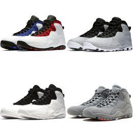 on sale f428f ac0fd Nike Air Jordan Retro Diseñador 10 10s Hombres Zapatillas de baloncesto  Cemento Westbrook PE Negro Blanco Soy espalda azul azul Zapatillas deporte  ...