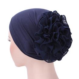 Discount muslim women caps - Turbante Women Flower Fold Cancer Chemo Hat Muslim Stretch Turban Hat Beanie Turban Head Wrap Cap Gorras Autumn Summer