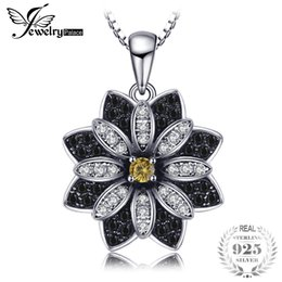 Quartz Pendants Australia - JewelryPalace Flower Natural Taupe Smoky Quartz Black Spinel Pendant 100% 925 Sterling Silver Fine Jewelry Not Include the Chain