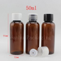 medical bottles Australia - wholesale 50ml X 50 brown general lid bottle medical plastic bottle medical pet container, Amber empty plastic vial with lid