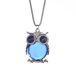 China Owl Rhinestones Crystal Pendant Necklaces Women Luxury Jewelry Clothing Accessories Fashion Sweater Long Chain Necklace cheap long necklaces luxury suppliers