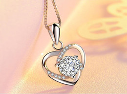 $enCountryForm.capitalKeyWord UK - 925 Sterling Silver Necklace Clavicular Chain Lady Heart Pendant Simple Clavicular Chain Heart Version Silver Accessories Cheap Pendant