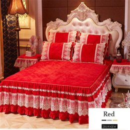patchwork bedspreads Canada - free shipping crystal velvet lace bedskirt 3pcs quality thickened cotton bedspread European style slip-proof cotton bedclothes