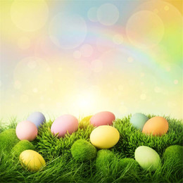 $enCountryForm.capitalKeyWord NZ - Colorful Rainbow Bokeh Photography Backdrops for Baby Newborn Printed Easter Eggs Green Grass Spring Photo Studio Backgrounds