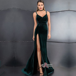 Pictures rings online shopping - Velvet Sexy Prom Dresses Hunter Green Spaghetti Straps Side High Split Evening Dress Neck ring Back Zipper Celebrity party Dress Vestidos