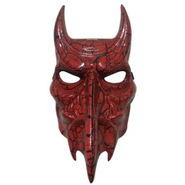 Dallas Mask UK - 1pcs lot Horror Bull Party Mask Red Texture Halloween Masquerade Full Face Mask 140g Plastic Dallas Thick For Adult Cosplay