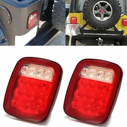 Wholesale Trailer Lights Australia - Red white Stop Tail Turn Signal Backup For Jeep TJ YJ CJ Truck Trailer Boat Stop Turn Tail back up 16 LED Light Stud Mount