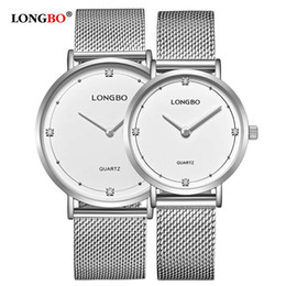 men women couple watches Australia - LONGBO Couple Mesh Stainless Steel Watches Men Women Quartz Lover's Wristwatches Ladies Quartz Watch Gift Clock Erkek Kol Saati