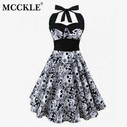plus size mid calf dresses 2019 - MCCKLE Women Halter Plus Size Sleeveless Casual Dress Vintage Skull Floral Printed Dress 2018 Summer Women's Sexy D