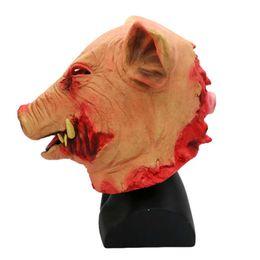 Pig Face Masks Australia - Pig Head Mask Animal Joker Costume Non-toxic Halloween Smoke Pig Cosplay Creepy Animal Prop Latex Party Unisex Halloween Props