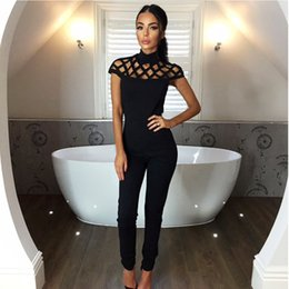 High Quality Jumpsuits Australia - Jumpsuit new high quality Choker High Neck Caged Sleeve Playsuits Long Jumpsuits Rompers Jumpsuits women july11